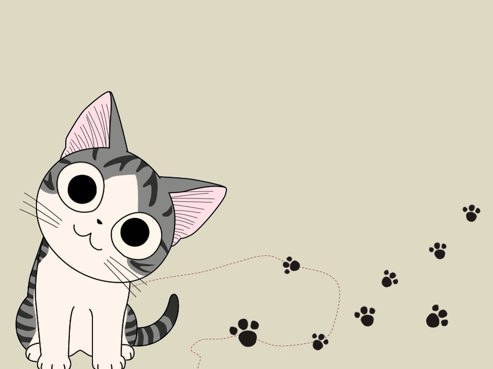 卡通可爱猫咪儿童课件PPT模板