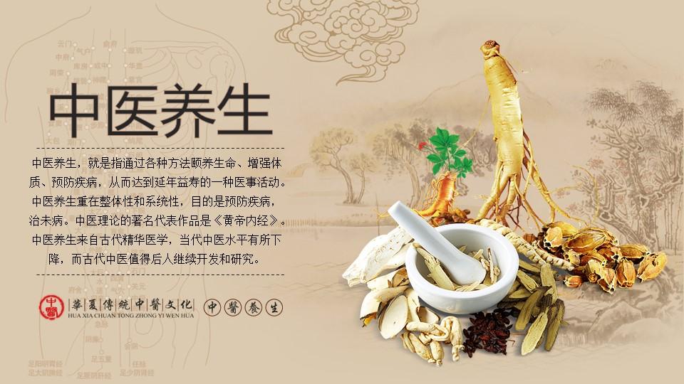 中国风传统中医养生文化PPT模板